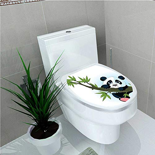 - Bathroom Toilet seat Sticker Decal Collection Panda Climbing on a Tree Springtime Oriental Asian Jungle Wildlife Nature Home W13 x L16