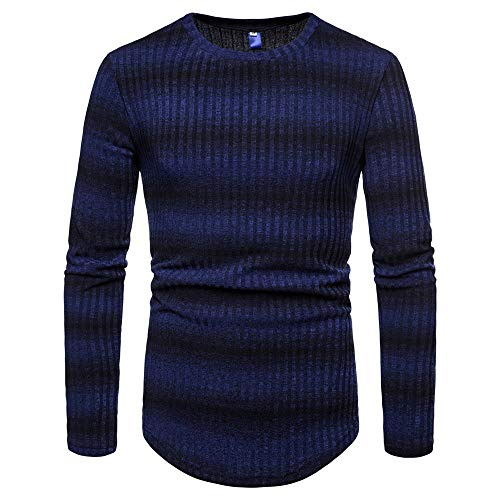 53617e2e5a 2018 Wintialy Mens Gradient Stripe Winter Pullover Knitted Top Striped  Sweater Outwear Blouse