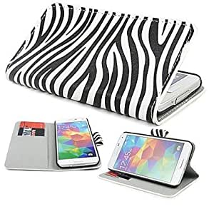 LIMME- ships in 48 hours Zebra Pattern PU Leather Case Cover with Stand and Card Slot for Samsung S5 Mini G800