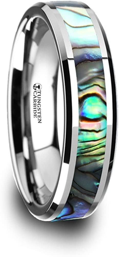 Thorsten Maui Ring Tungsten Carbide with Mother of Pearl Inlay 8mm Wide Wedding Band from Roy Rose Jewelry