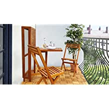 SLAT Small Wall Table With 2 Chairs Set by Interbuild