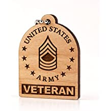 E-8 Master Sergeant Veteran US Army Rank MSG OR-8 Wood Laser Cut Keychain Charm Ornament