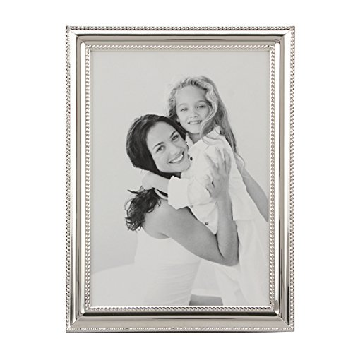 Stonebriar Decorative Silver Metal Photo Frame with Textured Border and Easel Back Stand, Elegant Wedding Picture Frame, Gift Idea for Engagements, Birthdays, and Anniversaries, 5x7