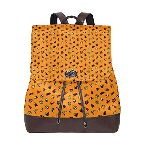 Leather Halloween Pattern Backpack Daypack Bag Women ()