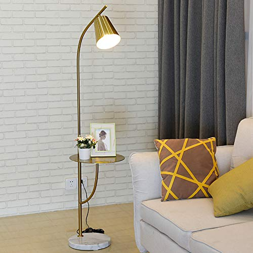 Hsyile Lighting KU300214 Creative Bedroom & Living Room Floor Lamp with a Table,Office and Reading Light - E26 Bulb - Brushed Antique Brass Finish