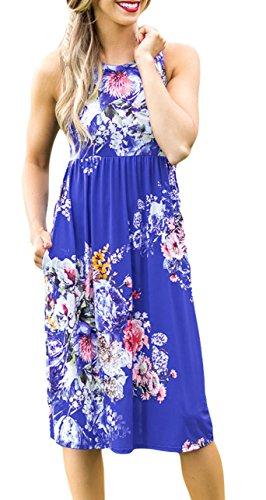 Cfanny - Vestido - Noche - Floral - Cuello redondo - Sin mangas - para mujer azul real