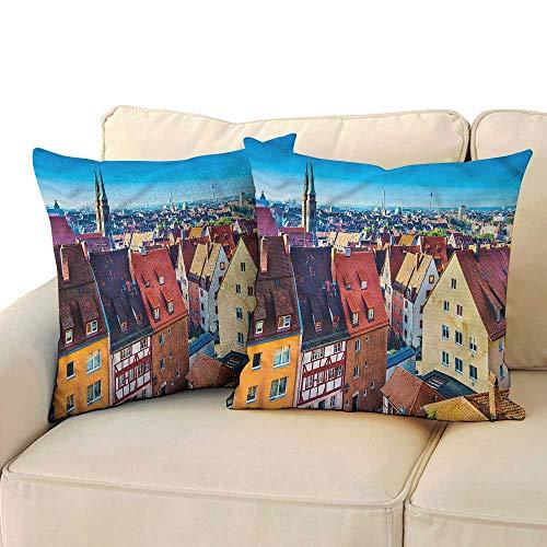 WinfreyDecor City Square Pillowcase German Town Nuremberg Skyline with Hidden Zipper W23 x L23