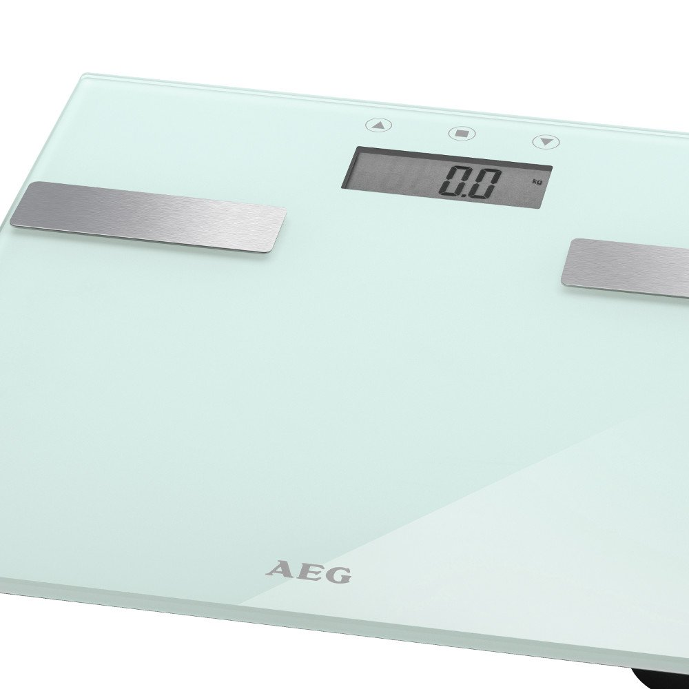 7in1 Analysis Scales Glass and Stainless Steel Up To 180 kg Scales Weight, Body Fat Analysis Water Content – Muscle Mass Bone Weight, Calorie Consumption and Index (Color: White) AEG
