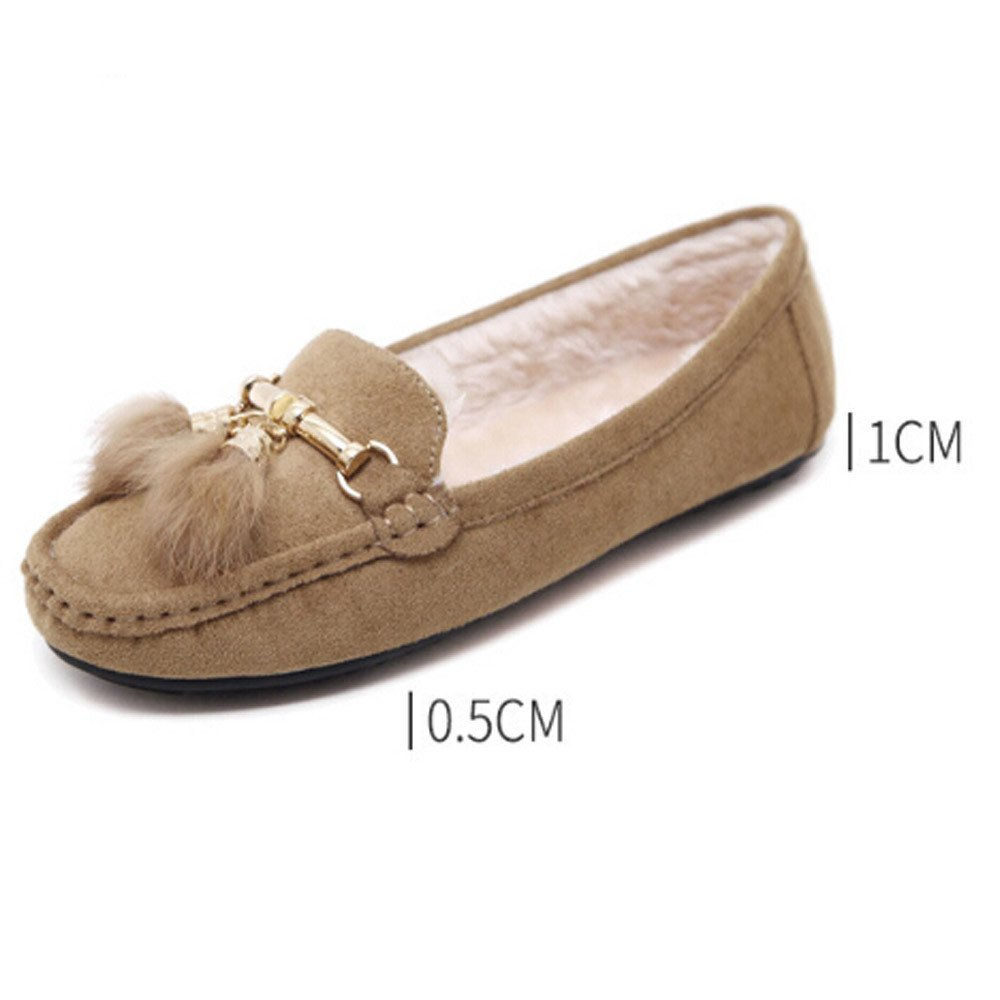 Tantisy ♣↭♣ Girls Soft Cotton Warm Shoes Baby Cute Bow Pea Boots Ladies Casual Tassel Flats Shoes Beige