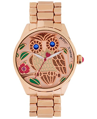Betsey Johnson Women's Rose Gold-Tone Owl Bracelet Watch 40mm BJ00421-04 (Betsey Johnson Watch Bracelet)
