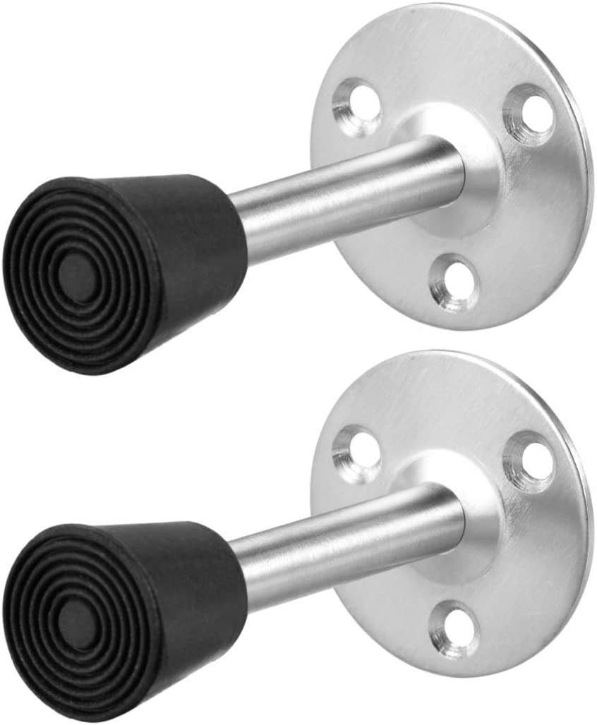 Door Stopper Stop Bumper Wall Protector Sound Damping Wall Mount with Rubber tip 85 mm Long 2 Pieces