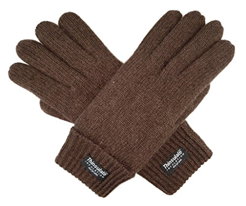 Bruceriver Ladie's Wool Knit Gloves with Thinsulate Lining Size L (Brown) (Poor Circulation In Fingers In Cold Weather)