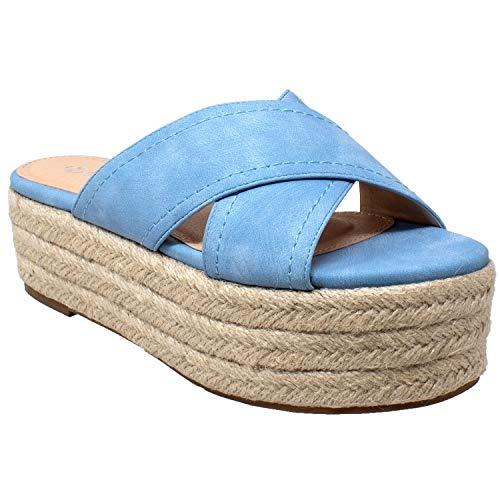 SOBEYO Womens Platform Sandals Wedge Flatform Slides Criss Cross Strap Espadrilles Blue SZ 11