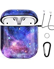 Airpods Case - Jasonna Cute Galaxy Marble Airpods Accessories Protective Hard Case Cover Portable & Shockproof Women Girls Men with Keychain/Strap for Airpods 2/1 Charging Case (Purple Space)