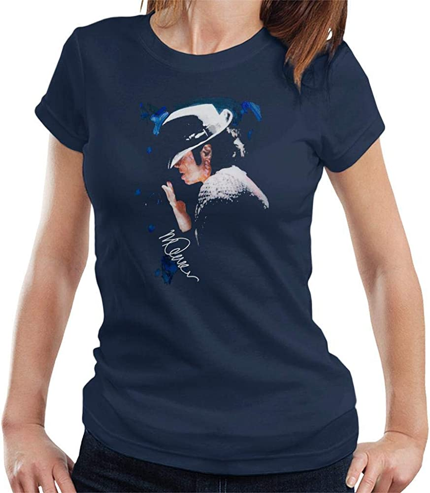 VINTRO Camiseta de Michael Jackson con Punta de Sombrero de Las Mujeres Original Portrait por Sidney Maurer (Armada, S): Amazon.es: Ropa y accesorios