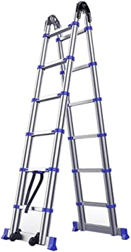 LADDER Escaleras telescópicas, Escaleras telescópicas plegables de aluminio de 7.4 pies para ingeniería, Escalera extensible multipropósito de servicio pesado de 7 pasos, Capacidad de 330 lb: Amazon.es: Bricolaje y herramientas