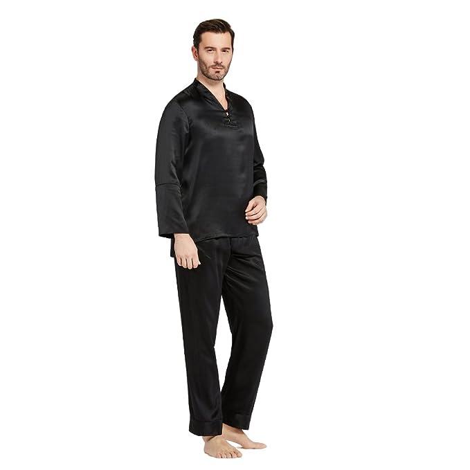 Lilysilk Pijamas Hombre Seda Estilo Oriental 100% Seda De Mora De 22 Momme,Negro