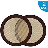 "Silicone Baking Mats, 2-Pack Non-Stick Silicone Baking Sheet Liner, Reusable Heat Resistant Baking Pastry Sheets for Bake Pans/Rolling/Macaron/Cookie (Round 9"", Brown)"