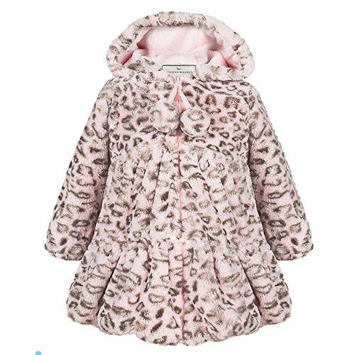 American Widgeon Girls' Faux Fur Hooded Coat Outerwear, Pink Leopard - Hut American