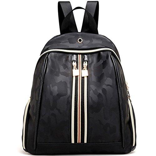 - Classic Fashion Oxford Backpack Casual Nylon Shoulder Bag Rucksack Waterproof Camouflage Black