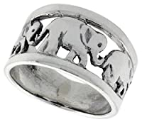 Sterling Silver Elephant Link Wedding Band Ring 7/16 inch wide, sizes 6 - 10