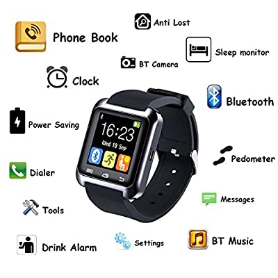 U80 Bluetooth 4.0 Smart Wrist Wrap Watch Phone for Smartphones IOS Android Apple iphone 5/5C/5S/6/6 Puls Android Samsung S3/S4/S5 Note 2/Note 3 Note 4 HTC Sony
