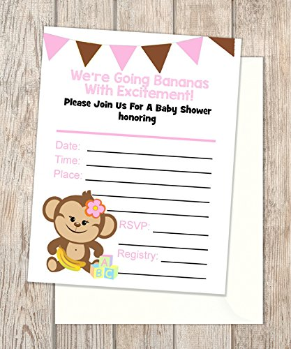Girl Baby Monkey Fill In Blank Invitations, Flat Cards Set Of 20, Baby Shower Invitations With Envelopes, Flat Card Invitations, 4.25