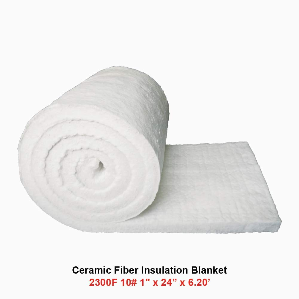 Ceramic Fiber Insulation Blanket 2300F 10# 1'' x 24'' x 6.20' for Wood Stoves, Fireplaces, Kilns, Furnaces