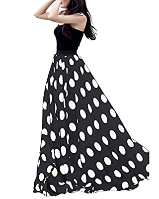 Urban CoCo Women's Fashion Chiffon High-Waist Summer Long Maxi Skirt