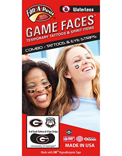 University of Georgia (UGA) Bulldogs – Waterless Peel & Stick Temporary Tattoos – 12-Piece Combo – Eye Strips -