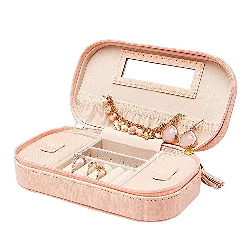 MKYYLV Travel Tassel Jewelry Box Organizer - Woman Faux Leather Necklace Earrings Rings Organizer Holder,Pink 4.5' High Jewelry Box