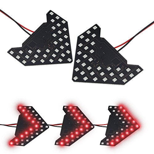 (LEADTOPS 2PCS Universal Add On Item Sequential Flashing 33 SMD Red Arrow Running LED Lights Bulbs for Side Mirror Turn Signals Rear View Mirror Indicator (33SMD Red)