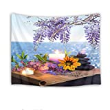 HVEST Zen Spa Tapestry,Ocean Tapestry Wall Hanging,Purple Violet Sunflowers Candle Massage Stones on Bamboo Stems Wall Blanket for Bedroom,Living Room,Dorm Decor,60 W X 40 H inch