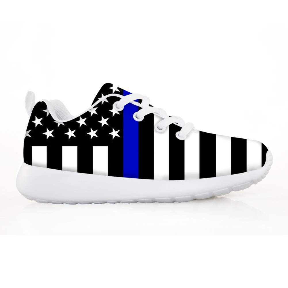 Owaheson Boys Girls Casual Lace-up Sneakers Running Shoes Police Thin Blue Line American Flag