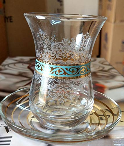Top Quality Gold Plated Turquoise Desgin Turkish Tea Glasses with Saucers Set of 6 - ()