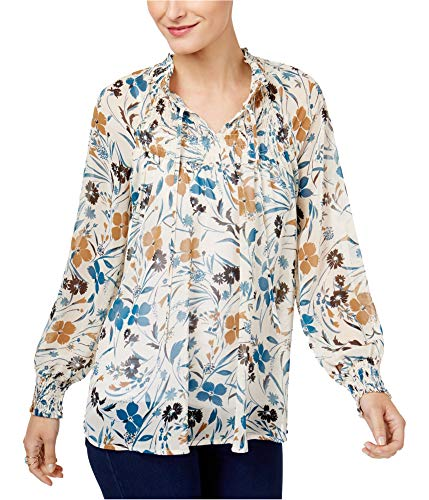 (Style & Co. Womens Floral Print Long Sleeves Blouse Tan XL)
