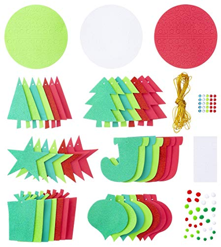 HAPPY DEALS ~ Foam Christmas Holiday Ornament/Wreath Craft Platter Kit - Pack of 345 pc Craft KIT Includes 42 Foam Shapes and Embellishments