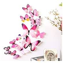 Mapletop 12pcs Wall Stickers Home Decorations 3D Butterfly Rainbow Decal (Pink)