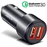 Car Charger, JSAUX Quick Charge 3.0 3A Dual USB Ports 36W Fast Car Charger Adapter Aluminum Metal for Samsung Galaxy S9 S8 Plus Note 8 S7, iPhone X 8 7 6S 6, iPad Air 2 Mini, LG G7 V30 G5 G6 V20, Moto