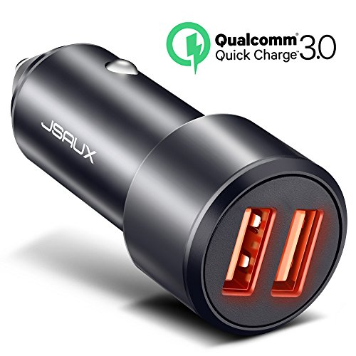 Car Charger, JSAUX Quick Charge 3.0 3A/36W Dual USB Car Charger Adapter Aluminum for Samsung Note 8 S8 S9 Plus S7 Edge, Apple X 8 7 6S 6 Plus, LG V30 G5 G6 V20, Mote Z and More