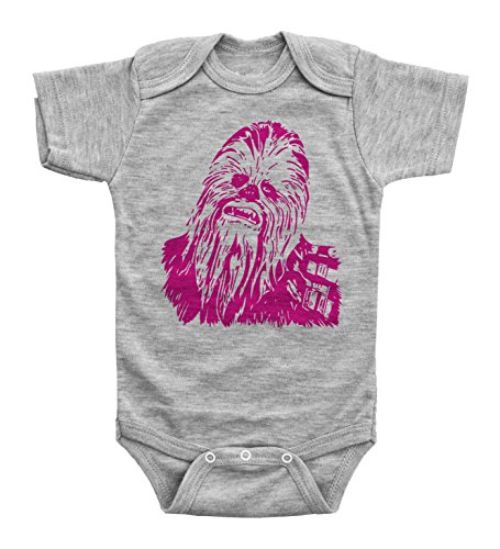 (Baffle Baby Girls Star Wars Inspired Baby Onesie/Chewbacca/Bodysuit (6M, Grey SS))