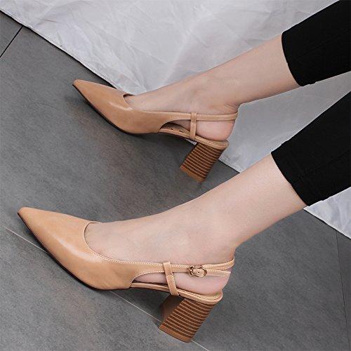 spesso un un paio una di di versione beige coreana baotou tacchi sandali i alti sandali con di paio 37 scarpe ZHANGJIA e con dxAnC8qwdp