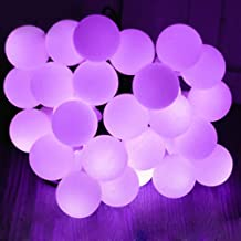 Solar Outdoor String Lights,WONFAST® Waterproof 23ft/7M 50 LED Bulb White Ball Solar Powered Globe Fairy String Lights for Christmas Wedding Holiday Party Patios Lawn Garden Outdoor Decoration (Purple)