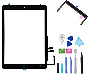 """T Phael Black Digitizer Repair Kit for iPad 9.7"""" 2018 iPad 6 6th Gen A1893 A1954 Touch Screen Digitizer Replacement with Home Button + Adhesive + Tools"""