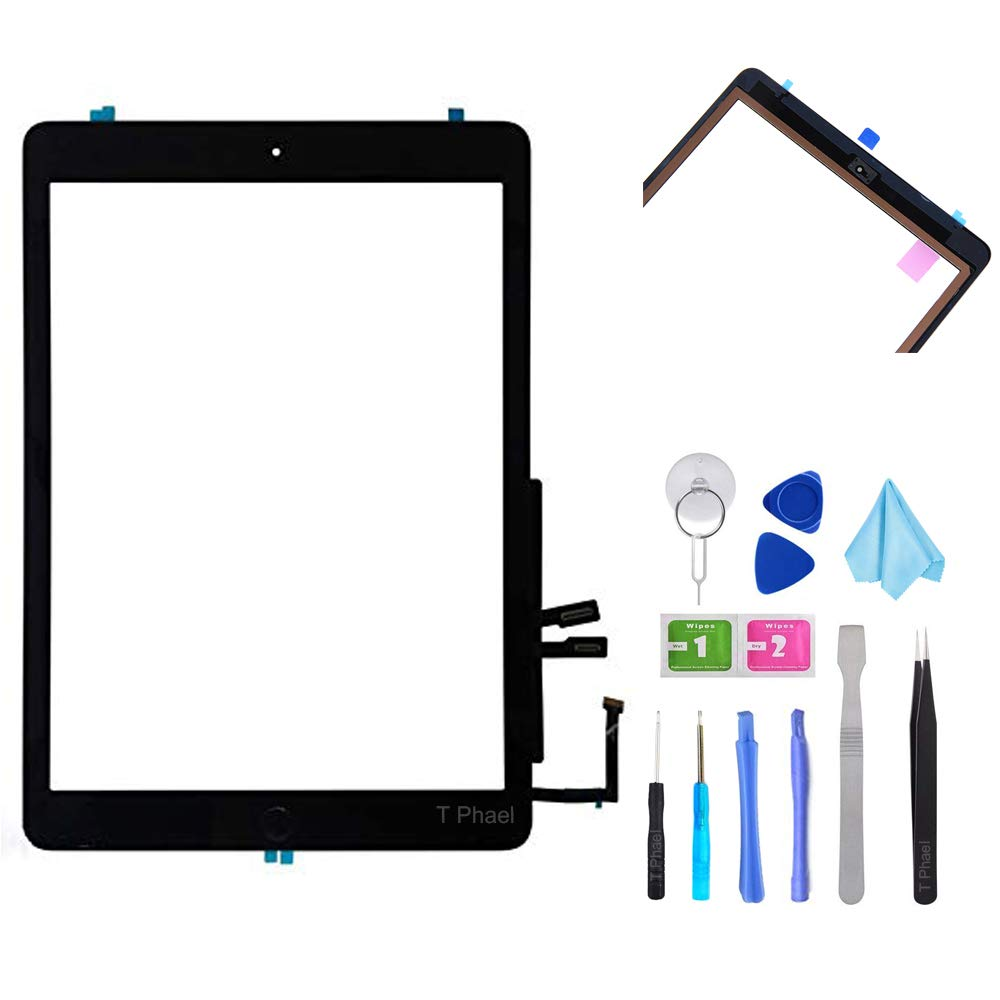 T Phael Black Digitizer Repair Kit for iPad 9.7'' 2018 iPad 6 6th Gen A1893 A1954 Touch Screen Digitizer Replacement with Home Button + Adhesive + Tools by T Phael