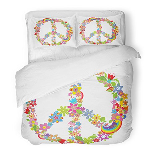 Funky 70s Peace Sign - SanChic Duvet Cover Set Sign Peace Flower Symbol 70S Groovy Power Rainbow Decorative Bedding Set with 2 Pillow Shams King Size