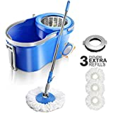 Spin Mop and Bucket 12 L Floor Mop and Buckets with Wringer,3 Microfiber Mop Heads and 1 Floor Cleaning Brush for Floor Cleaning Masthome