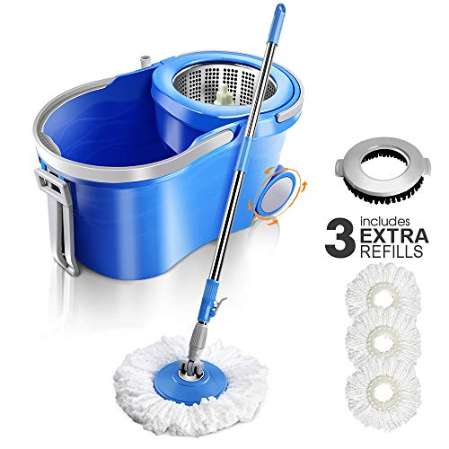 (Spin Mop Bucket with Wringer 12 L Floor Mop Buckets with 3 Microfiber Mop Heads and 1 Floor Cleaning Brush)