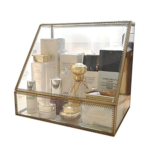 Clear Brass Display Case Spacious Glass Mirrored Cosmetic Storage for Makeup/Jewelry/ Brushes/ Perfumes/Skincare Large Drawers Organizer with Front Open Lid Non-acrylic