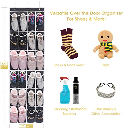 Large Product Image of Over the Door Shoe Organizer, MaidMAX Hanging Door Organizer Shoe Rack with 24 Mesh Pockets and 3 Hooks for Storage